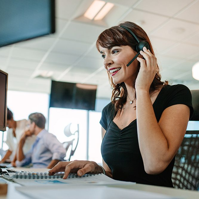 Call center woman talking on headset